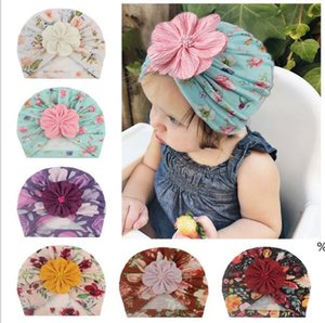 Floral Print Kid Hat Cap Bow Knot Head Wraps Turban Beanie Hats Flower Baby Winter Hat Soft Comfortable Warm Cotton Children Hat EWC6025