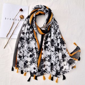 Fashionable foreign style black and white printed cotton linen scarf long tassel beach towel sun protection shawl female
