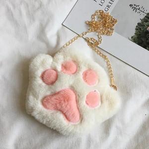 Cute Bear Paw Zipper Shoulder Bag Cartoon Childrens Soft Plush Coin Purse Baby Boys Accessories Small Crossbody Bags DHA3718
