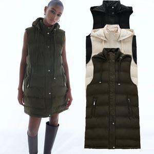 2021 Women Winter Vest Zipper Coats New Striped Hooded Down Cotton Jacket Parkas Female Warm Thick Big Pocket Outwear F01E