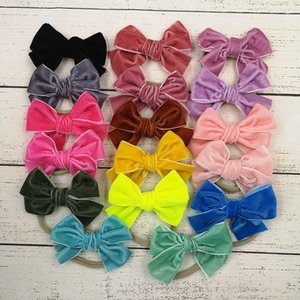 16 Colors Baby Girls Bow Headband Turban Solid Elasticity Hair Accessories Fashion Kids Hair Bow Boutique Bowknot Velvet Hairband M2826