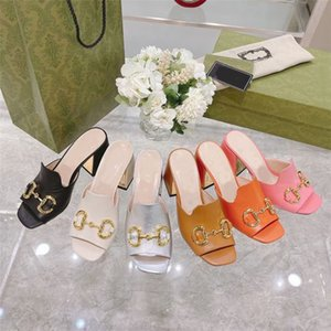 2021 Designer Women High Heels Sandals Fashion Square Toe Slippers Horsebit Gold- Toned Slides Party wedding Pumps WIth Box