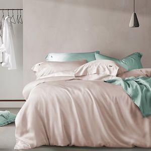 Premium100%Eucalyptus Lyocell Tencel Reversible Duvet Silky Soft Smooth Solid Color Comforter Cover bed Sheet Pillowcase