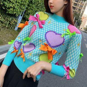 120 Free Shipping 2021 Spring Brand Same Style Regular Long Sleeve Crew Neck Kint Sweater Pullover Blue Women Clothes Hongren