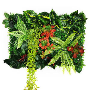 Artificial Plant Rattan Fake Panel Lawn Simulation Turf Green Leaf Grass Subtropical Mesh Grille Wall Decoration