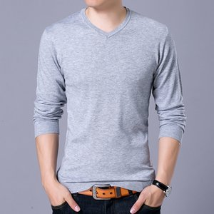 YDTTOMM Sweaters 2021 Automne hiver Nouveau V eccolaire Solide Slim Fit Hommes Pullovers Mode Homme Polo Pull Taille XXL Y32U