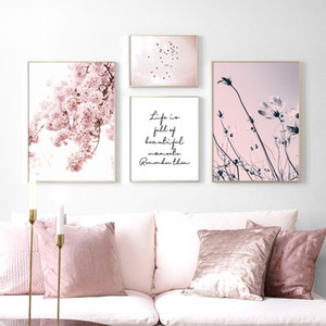 Paintings Landscape Prints Pink Cherry Blossom Pictures Scandinavian Posters Nordic Bird Wall Art Canvas Painting Living Room Home Decor