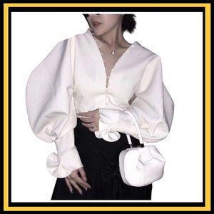 Getsring Bluz Gömlek Vintage V Boyun Beyaz Fırfır Fener Gömlek Üst Kadın Kız Bluz Y200828