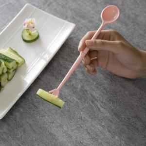 3шт фруктовые вилкие ложка две головы с фруктовым знаком Корейская посуда дети едят маленькие вилки творческие дети едят @ 1