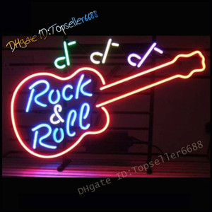 Rock & Roll Electric Guitar Band Room Music Dual Color LED Neon Sign Blue & Red