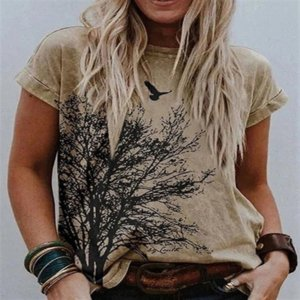 UWib 2021 landscape print round neck short t-women's sleeve casual t-shirt 7 colors women's t-shirt 6 sizes