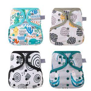 Elinfant 1 adet Bezi Kapak Boy Bez Yıkanabilir Bez Yeni Nefis Baskı Desen Su Geçirmez Bebekler Fit 10 - 20kg Bebek 210305