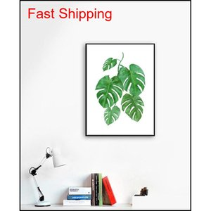 Modern Watercolor Tropical Leaf Posters Canvas Floral Green Plant Art Prints Living Room Kitchen Wall Photos Pain qylKQM garden2010