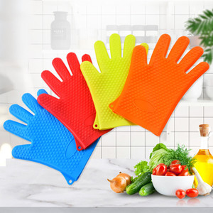 Durable Silicone Oven Kitchen Glove Heat Resistant Colorful Cooking BBQ Grill Glove Oven Mitts Kitchen Gadgets Kitchen Accessories T9I001131
