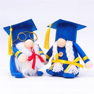 التخرج أفخم Dwarf دمية الأزرق مبروك Grad Swedish Gnomes Plush Table الحلي لمدة 2021 حفلة التخرج