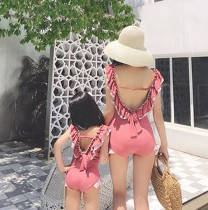 INS Girls falbala backless swimwear mommy and me one-piece swimming fashion kids ruffle suspender beach holiday swimsuits A6134