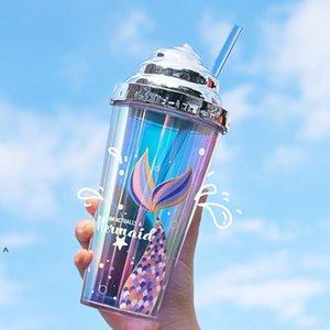 Coupe d'eau de paille d'eau galvotée Creative Paille de la miroir de la miroir en plastique de la gobelet en plastique double couche avec des motifs de sirène 420 ml FWA3623