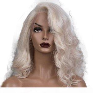 شفافة الرباط البلاتين شقراء متموجة الإنسان الشعر الباروكات 13x6 الرباط الجبهة الباروكات الجسم موجة شقراء كامل شعر مستعار للنساء الشعر البشري