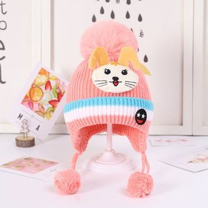 0-6 Years Old Autumn Winter Children's Boys Girls Baby Knitted with Plush and Thickened Ear Protection Wool Hat