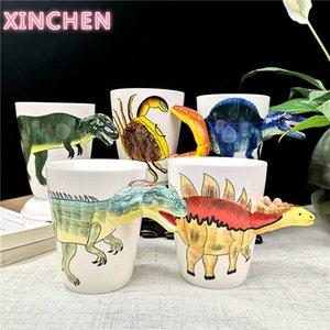Xinchen céramique dinosaure dinosaure eau tasse d'eau mignon tyrannosaurus bureau tasse créative mousse de dragon de dragon liantglong café tasse de café L0309