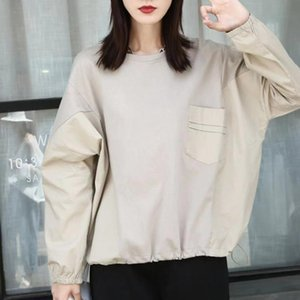 Women's Blouses & Shirts 2021 Women Blouse Solid Color Splicing Round Neck Long Sleeve Pullover Pocket Autumn Japanese Style Fashion Casual