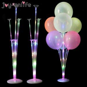 1 / 2set Воздушные шарики светодиодный свет воздушный шар стойки стойки для воздушных шаров день рождения декор декораты ребенка взрослый свадебный стол баллон 210610