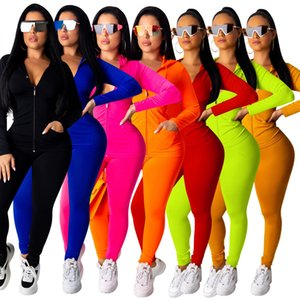 Womens Tracksuit women designers clothes 2020 Pink Sportswear Long Sleeve Jacket Pants Tow Pieces Outfits Hoodie Legging ports Set