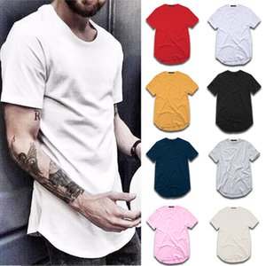 T-shirt Hommes Mode Street Street Street SHIRT Vêtements Homme Homme Curved Hem Long Line Tops Tops Tees Hip Hop Urban Vide Basic T Shirts TX135