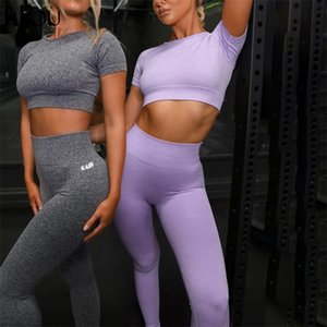 Kliou fitness tracksuit women letter print fashion 2 piece set skinny sportwear elastic hight playsuit female casual outfit 210316