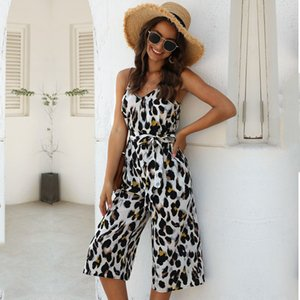 2021 Novos Jumpsuits Streetwear Calf-Comprimento Calças Leopard Sashes Broadcloth MSFILIA EW64