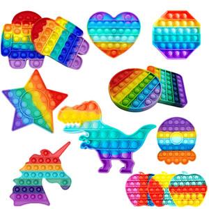 Empurre Pop Fidget Toy Arco-íris Bubble Sensory Autism Precisa Stress Reversão Esprema Brinquedo Sensorial para Crianças Família DHL Fast Shipping