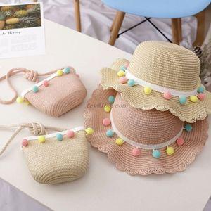 Kids Girls Big Wide Brim Straw Woven Sun Beach Hat Colorful Pompom Bal Summer Floppy Emmer Cap Portable Handbag