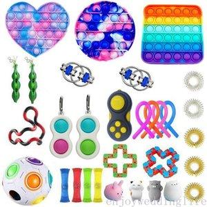 2021 Anti Stress Zappeln Spielzeug Set Stretchy Saiten Pop Es Popit Geschenk Pack Erwachsene Kinder Squishy Sensory Antistress Hilfsfigletter Spielzeug
