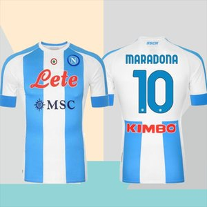 20/21 Napoli Comemore # 10 Maradona Futebol Jerseys 2021 quarto fora # 14 Mertens Maillots de pé Hamsik Milik camisa de futebol uniformes