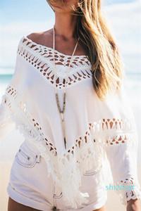 Hot Sale V neck hollow out women blouse shirt Summer tassel beach bikini shawl tops Sexy bat sleeve white cotton tops and blouse