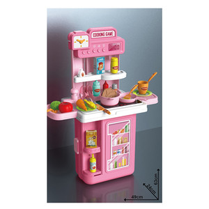 4 in 1 Big Kitchen Pretend Cooking Play Set Toys For Kids Girls With Light Sound Faucet And Spray
