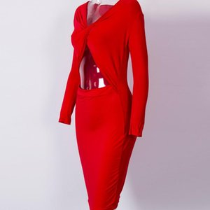 Womens 긴 소매 붕대 붕대 저녁 Paty Hollow out 섹시한 패션 슬림 Bodycon Clubwear Dress