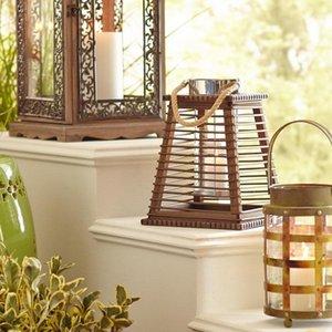 Candle Holders Wood Tea Light Holder Designer Vintage Wooden Lantern European Hanging Faroles Decoracion Home Accessories DL60ZT