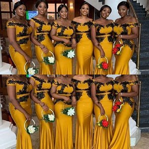 2021 New Cheap Yellow African Mermaid Long Bridesmaid Dresses Black Lace Custom Stretchy Plus Size Wedding Guest Gowns Maid Of Honor Dresses