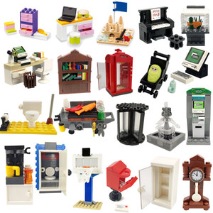 Friends Figures Toilet ATM Phone Box Piano Clock Bookshelf Kids Toys For Children Girls MOC Assemble Model City Building Blocks C0220