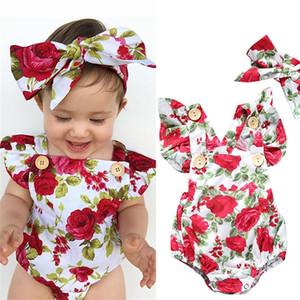 Kids romper summer jumpsuit flower Bow headband newborn clothes set children harem rompers baby bodysuit one-piece suit H238V6M