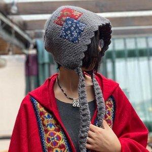 Johnature Winter New Lolita Sombreros para Mujeres 2021 Casual Patchwork Estilo Chino Moda Todos Match 3 Colores Vintage Hombre Sombreros