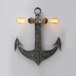 American Anchor Bedroom Soggiorno Parete Lampada da parete industria retrò Doppia testa creativa Iron Iron Lampade decorative Lampade da parete