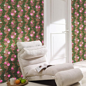 PVC Self Adhesive Wallpaper 3D Rose Flower Stone Brick Wallpapers For Living Room Bedroom Decoration Wall Sticker Home Decor