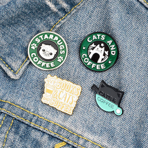 European Kitten Coffee Pins Cute Cartoon Pug Puppay Cafe Pin Unisex Cowboy Backpack Badge Jewelry Accessories Wholesale