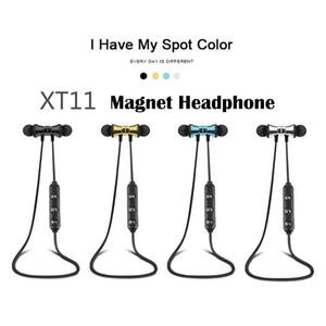 XT11 Bluetooth Наушники Magnetic Беспроводная беговые спортивные наушники-гарнитуры BT 4.2 с MP MP3 Earbud для смартфонов iPhone LG в коробке
