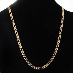 24K الذهب البلاتين مطلي 4.5MM الرجال NK الروابط Figaro سلسلة قلادة 23.4inches (50CM) (الحجم: 23.4 '' اللون: الذهب) 169 U2