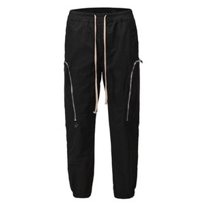 Black Color Multi Pocket Cargo Pants Men Women Unisex Fashion Joggers Drawstring Sweatpants Trousers