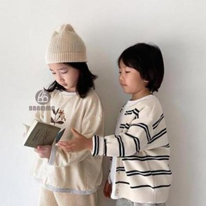 Hoodies & Sweatshirts 2021 Autumn Children's Clothing Long Sleeve Baby Sweater Cotton Boys Sweatshirt Flower Pattern Round Neck Girls Pu