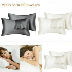 20*26 20*30 20*36in Silk Satin Pillowcase Home Multicolor Ice Silk Pillow Case Zipper Pillow Cover Double Face Envelope Bedding Pillow Cover